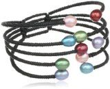 "7-7.5 mm 5-Row Multi-Colored Rice Freshwater Cultured Pearl Bangle Bracelet, 7"" -"