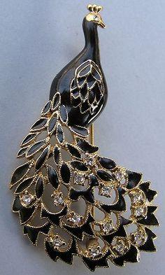 Vintage Enamel Rhinestone Peacock Brooch