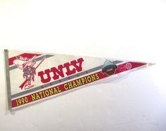 UNLV 1990 Basketball Pennant, National Champions Felt Flag by planetalissa on Etsy