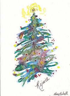 christmas tree painting Rejoice Christmas Tree Painting by Michele Hollister - for Nancy Asbell Watercolor Christmas Tree, Christmas Tree Painting, Painted Christmas Cards, Diy Tree Painting, Christmas Cards Drawing, Custom Christmas Cards, Watercolor Cards, Watercolor Paintings, Simple Watercolor