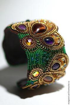 """Браслет """"Папарать-кветка"""" - зелёный,бронза,натуральные камни,браслет,Вышивка бисером"""