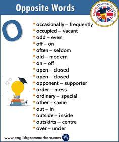 Alphabetical Opposite Word List – O - English Grammar Here