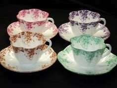 Shelley Dainty GREEN BROWN PINK MAUVE simplyTclub Tea cup and saucer  1200.00