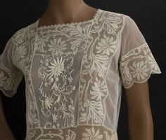 #embroidered lace tea dress, c.1923  lace dresses #2dayslook #new style #lacefashion  www.2dayslook.com