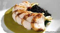 pescado del dia   monk fish · ramps · black rice · pipian sauce