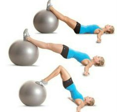 Fully extend the hips to get the best out of this workout. Use only one leg for maximum difficulty. Be consistent! These are amazing with your butt and hamstrings. Seriously I love my stability ball.