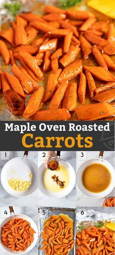 Maple Oven Roasted Carrots Oven Roasted Carrots tossed with maple syrup and cooked until perfectly tender and caramelized. These easy to make roasted carrots are the perfect side dish to serve on a weeknight or for the holidays! Side Dishes For Bbq, Best Side Dishes, Vegetable Side Dishes, Side Dish Recipes, Vegetable Recipes, Carrots In Oven, Oven Roasted Carrots, Healthy Holiday Recipes, Easy Dinner Recipes