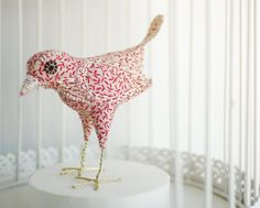 Red Butler  Hand-sewn shabby chic birdie by 1000and1nightingales