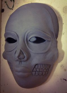 Wet Clay Ceramic Day of the Dead Halloween Mask made by M. Rains
