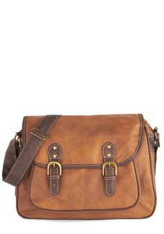 Syllabus of the Best Bag. Come prepared for the first day of class by toting this caramel-brown bag! #brown #modcloth