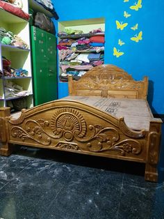 Wooden Front Door Design, Wood Bed Design, Bedroom Bed Design, Single Door Design, Double Door Design, Door Design Photos, Pooja Door Design, Classic Bedroom Furniture, Bed Designs With Storage