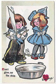 OLD NURSERY DONTS VALENTINE POSTCARD CHILDREN SAILBOAT   Flickr - Photo Sharing!