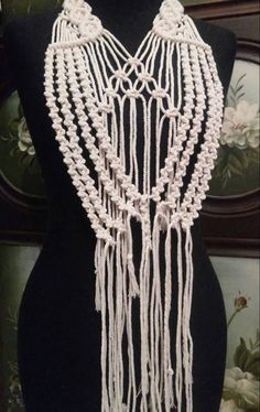 Excited to share the latest addition to my #etsy shop: Hand-knotted Macrame Statement Necklace http://etsy.me/2CWRglX #jewelry #necklace #beige #women #victorian #macrame #macramenecklace #statement #statementnecklace