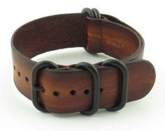 NATO Vintage Leather G10 Watch strap with Matte Black Rings in Brown - StrapsCo