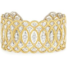 Buccellati Etoilée 18K Cuff Bracelet with Diamonds (€38.555) ❤ liked on Polyvore featuring jewelry, bracelets, diamond jewellery, buccellati, diamond bangles, cuff jewelry and 18k bangle