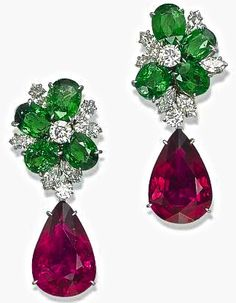 A Pair of Tourmaline, Garnet and Diamond Earrings, By Michele Della Valle