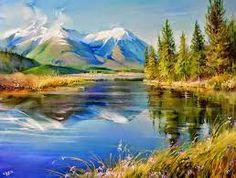 paisajes de montañas con acuarelas