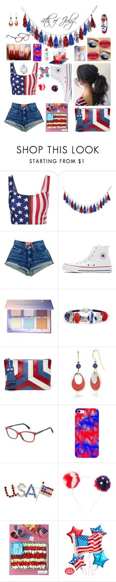 """""""4th of July outfit"""" by b-u-b-b-l-e-g-u-m ❤ liked on Polyvore featuring POPTIMISM!, Converse, Anastasia Beverly Hills, Bling Jewelry, Anya Hindmarch, Silver Forest, Tommy Hilfiger and Charlotte Russe"""