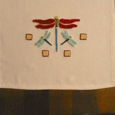 Red Dragonfly Table Runner by Arts & Crafts Stitches www.acstitches.com Craftsman Style Textiles, Hand Embroidery