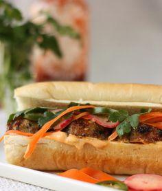 Pork meatball banh mi sandwich.