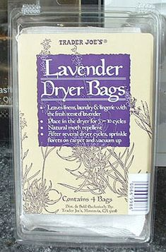 Trader Joe Lavender Dryer Bags  Love the smell on the dried clothes, can be used as a moth repellant