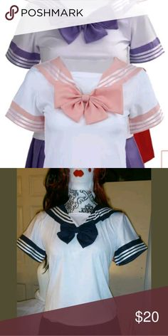 Japanrse fuku school girl uniform top these are for the top only not the skirts cpmrs in red, blue, pink, purple and green black women and jr sizes pick the color and message me with size cpmes in small, med., lrg., XL custome made Tops Blouses