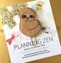 Adorable Felt Sloth Planner Clip | Paperclip Page Marker | Textbook Bookmark | Cookbook Page Marker | Bible Bookmark