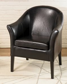 Armen Living LCMC001CLBL - 1404 Black Leather Club Chair | Sale Price: $338.40