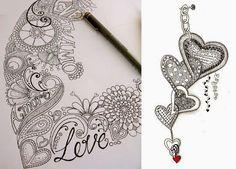 Zentangles con forma corazón para San Valentin