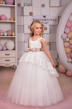 Ivory Flower Girl Dress - Birthday Wedding Party Holiday Bridesmaid Ivory Lace Tulle Flower Girl Dress