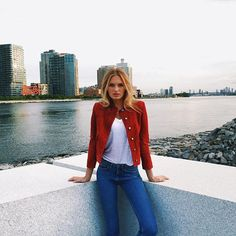 red jacket + jeans | romee strijd
