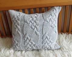 Silver Gray Handmade Cable Knit Pillow cushion by KnitJoys on Etsy