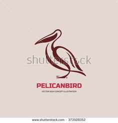 Pelican bird - vector logo concept illustration in classic line style. Pelican logo sign. Bird logo sign. Vector logo template. Design element.