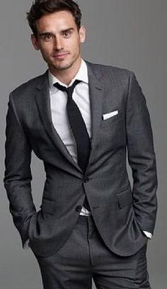 Hugo Boss 42 R Men's Suit Charcoal Gray 100% Wool Jam/Sharp Minty 2014