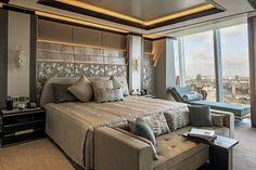 The specially designed Shangri-La Bed in the suite usies patented body-contouring technolo...