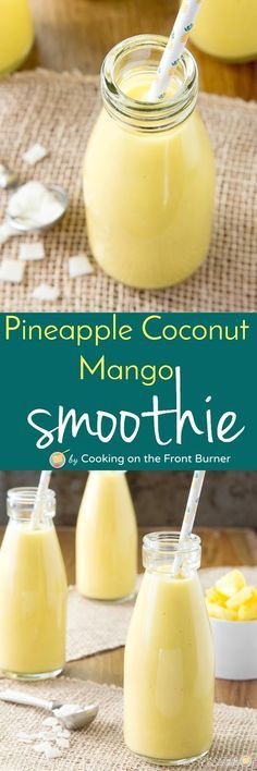 Pineapple coconut mango smoothie You will enjoy a bit of the tropics with these Pineapple Coconut Mango Smoothies – you. Mango Smoothies, Juice Smoothie, Smoothie Drinks, Healthy Smoothies, Healthy Drinks, Smoothie Recipes, Healthy Snacks, Healthy Recipes, Vegetarian Smoothies