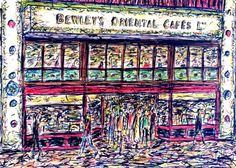 Colourful sketch of the famous Bewley's Cafe in Grafton Street, Dublin, Ireland. Art by Kirstin McCoy www.kirstinmccoy.com