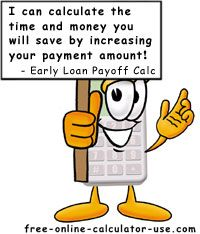 Early Loan Payoff Calculator. This site has some great, helpful calculators for all your finances. I love this early payoff calculator; it really shows how much difference a few extra dollars per month can help knock down that debt!