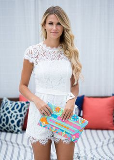 England Skies Lace Romper White