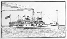 Steamboat Nantucket 1900 by Ira Shander Boat Sketch, Steam Boats, Ink Pen Drawings, Dream Home Design, Ink Illustrations, Nantucket, Go Outside, Cape Cod, Line Drawing
