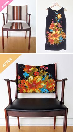 BEFORE & AFTER: vintage chair makeover using vintage dress / The Sweet Escape #reuse #repurpose #recycle