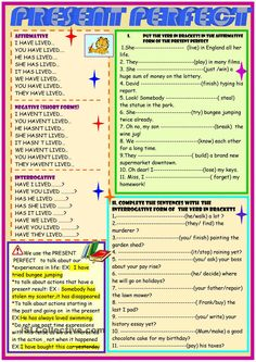 present perfect small grammar guide and practice
