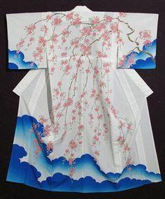 RARE Museum Sakura Cherry Blossom Houmongi Odori Kimono Juban OBI Cosplay Dress