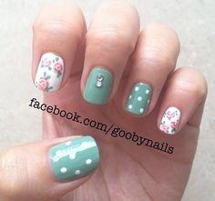 Shellac nail art  Roses are adorable!