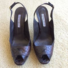 Charles David chocolate brown pump Open toe, sling back. Animal skin stamped. Dark brown. Classy and chic... Or funk it up! Great condition. Worn a couple times. Make me an offer!! Charles David Shoes Heels