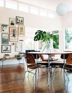 Dining Room & Living room. Mid century modern chairs & frame collage. #interior #decor