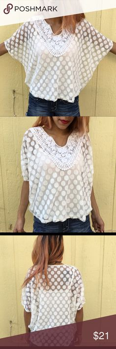Polka Dot Crochet Blouse Inside Cami: 18' (can Velcro off) Length: 20:5 Top Layer: up to 31' Length: 23' Size Large or Size XL. Tops Blouses