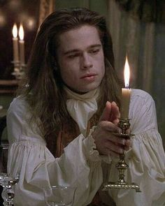 """Interview With The Vampire"" by Anne Rice featuring Brad Pitt as Louis. Brad Pitt Vampire, Vampire Boy, Anne Rice Vampire Chronicles, Lestat And Louis, Mayfair, Interview With The Vampire, Gothic Aesthetic, Vampires And Werewolves, Actrices Hollywood"