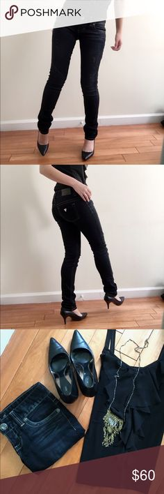 Guess Jeans Dark blue/black skinny jeans from Guess. Low rise. Lightly distressed under the pocket as shown above Guess Jeans Skinny