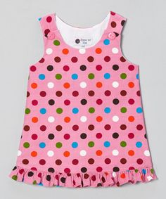 Another great find on #zulily! Pink Polka Dot Corduroy Ruffle Jumper - Infant, Toddler & Girls #zulilyfinds
